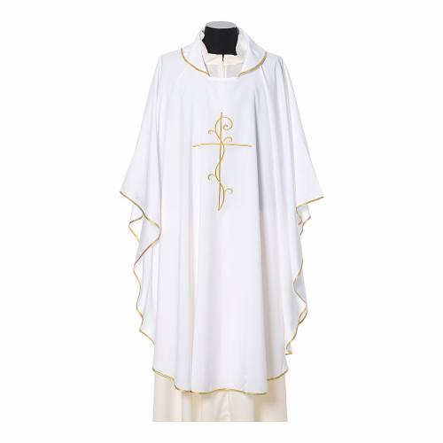 Casula tessuto super leggero Vatican poliestere ricamo croce davanti dietro s6