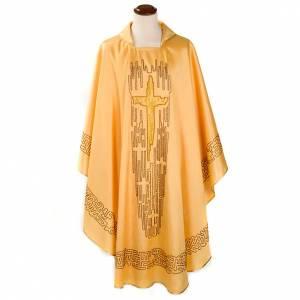 Casulla shantung dorada cruz estilizada s1