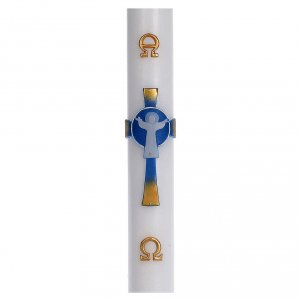 Candele, ceri, ceretti: Cero pasquale cera bianca RINFORZO Croce Risorto azzurro 8x120 cm