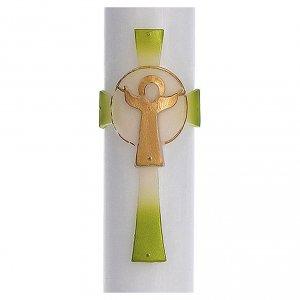 Candele, ceri, ceretti: Cero pasquale cera bianca RINFORZO Croce Risorto verde 8x120 cm