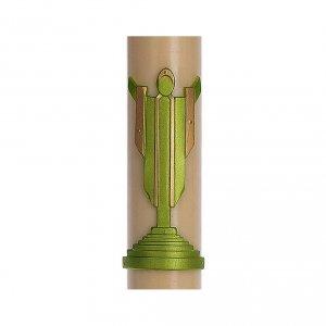 Candele, ceri, ceretti: Cero pasquale cera d'api RINFORZO Cristo Risorto verde 8x120 cm