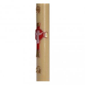 Cero pasquale cera d'api RINFORZO Croce Risorto rosso 8x120 cm s4