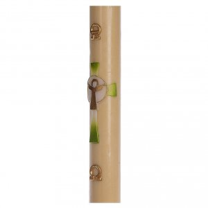 Cero pasquale cera d'api RINFORZO Croce Risorto verde 8x120 cm s4