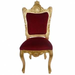 Chaise baroque bois entaillé et feuille d'or 130 cm s1