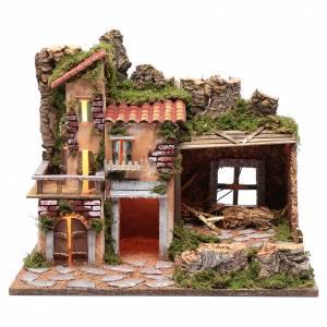 Maisons, milieux, ateliers, puits: Chalet pour crèche avec lumières 45x30x35 cm