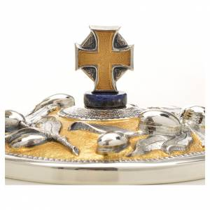 Chalice and Ciborium brass, sodalite mod. Olive, hand chiselled s8
