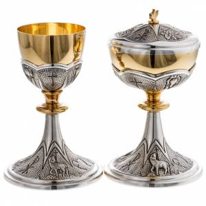 Metal Chalices Ciborium Patens: Chalice and ciborium Chi-Rho chiseled brass