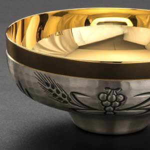 Chalice, ciborium and paten with ears of wheat, crosses and grap s10