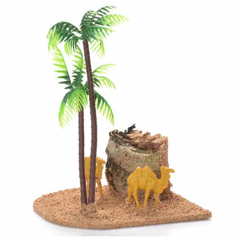 Chameaux et palmiers décor crèche s1