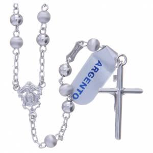 Chapelet argent 800 perles 5 mm lisses et satinées s2