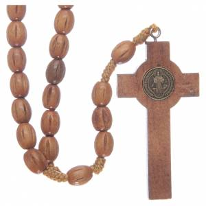 Chapelets en bois: Chapelet avec grains en bois et croix St Benoît