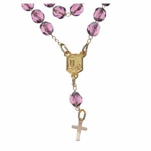 Chapelet dévotion collier Notre-Dame de Fátima lilas s2