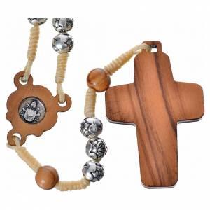 Chapelets en métal: Chapelet en bois naturel et métal Pape François