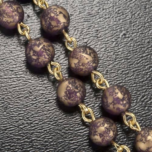 Chapelet Ghirelli Grotte Lourdes verre violet or 6 mm s5