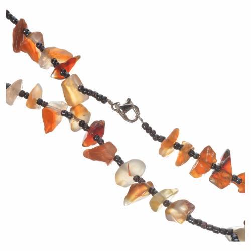 Chapelet Medjugorje pierre dure couleur ambre opaque s2