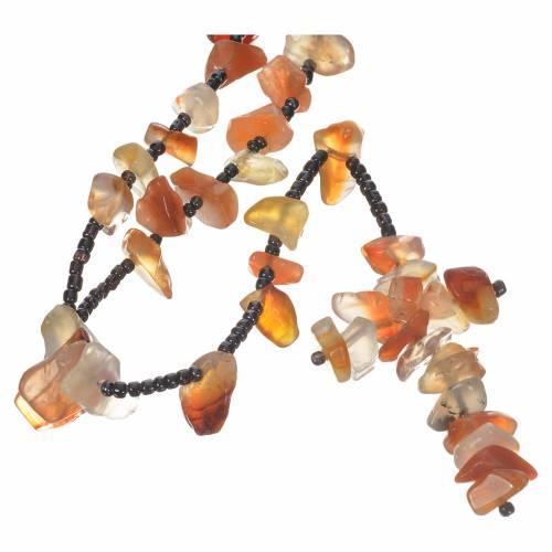 Chapelet Medjugorje pierre dure couleur ambre opaque s1