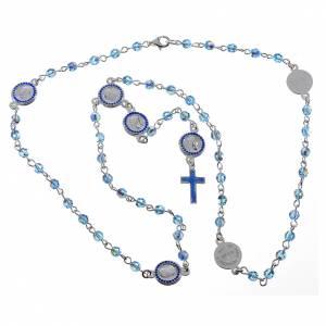 Chapelet Pape François Swarovski bleus argent 800 s5