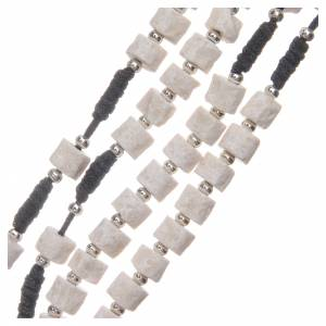 Chapelet pierre blanche de Medjugorje avec corde noire s3