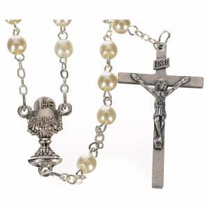 Chapelets perles d'imitation: Chapelet semi nacre, première communion ivoire