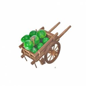 Char avec des pastèques crèche napolitaine 8x12x7cm s2