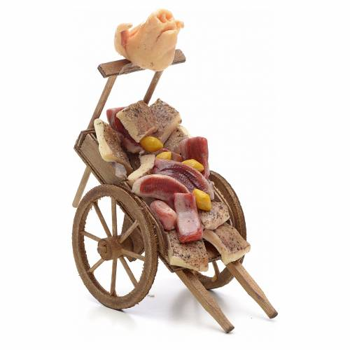 Charrette avec viande et lard, accessoire crèche Napolitaine s1
