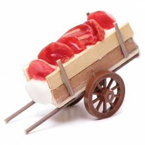 Crèche Napolitaine: Charrette en miniature avec viande en cire 5x11x5cm