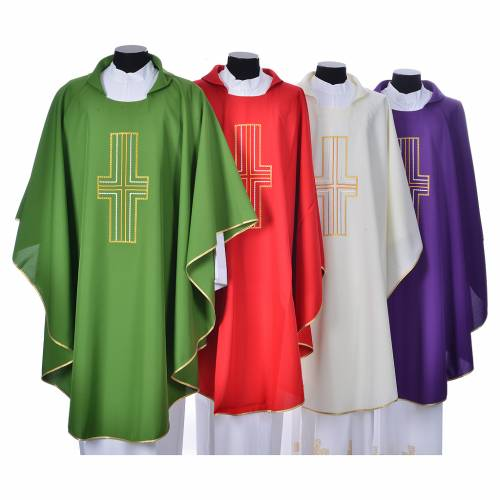 Chasuble 100% polyester croix or et blanc s1