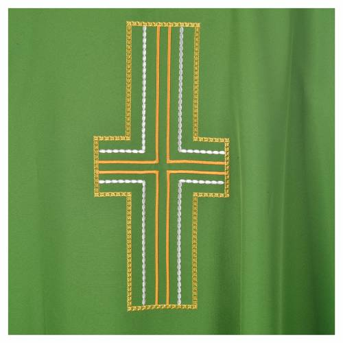 Chasuble 100% polyester croix or et blanc s6