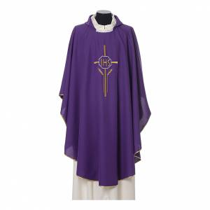 Chasuble 100% polyester IHS croix épis s5
