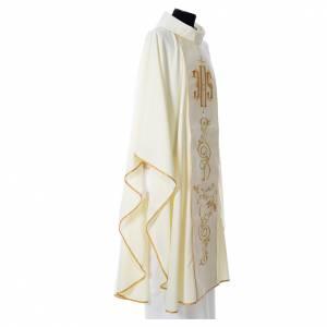 Chasuble 80% polyester 20% laine décor IHS doré s6