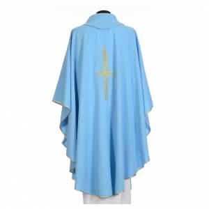 Chasuble bleu clair 100% polyester croix dorée s2