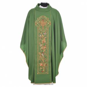 Chasuble in 100% wool, IHS, ears of wheat embroidery s6