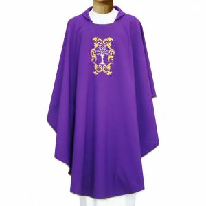 Chasuble in polyester with Monstrance and floral embroidery s1