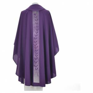 Chasuble in polyester with olive branch embroidery on orphrey s4