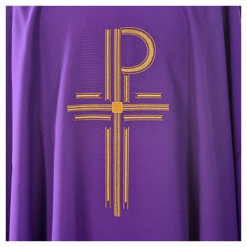 Chasuble in shiny polyester with Chi-Rho s3