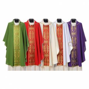 Chasubles: Chasuble in Vatican fabric with galloon on the front