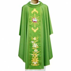 Chasubles: Chasuble in wool and lurex with embroidery on galloon