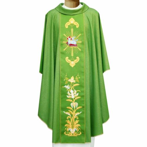 Chasuble in wool and lurex with embroidery on galloon s1