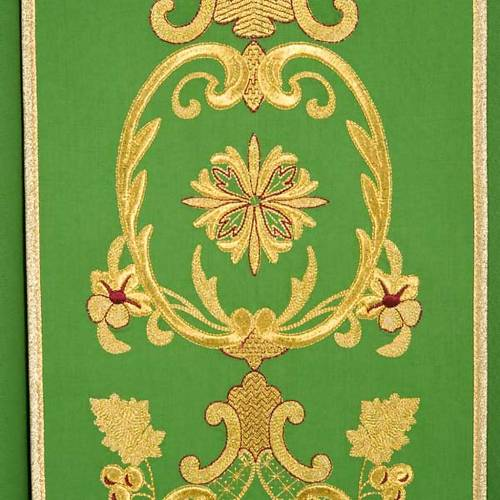 Chasuble in wool with gold flowers and ears of wheat s7