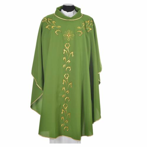 Chasuble liturgie, décor doré et croix s6