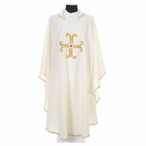 Chasuble liturgique croix dorée et perle verre s4