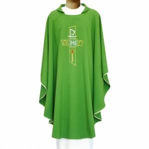 Chasuble liturgique croix stylisée IHS Alpha Oméga s1