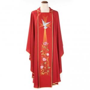 Chasuble liturgique rouge Saint-Esprit roses 100% laine s3