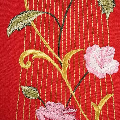 Chasuble liturgique rouge Saint-Esprit roses 100% laine s6