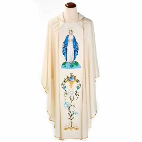 Chasuble Mariale Vierge Marie et symbole 100% laine peinte s1
