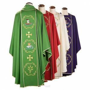 Chasubles: Chasuble sacerdotale 100% laine, bateau, poisson et calice