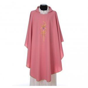 Chasubles: Chasuble sacerdotale 100% polyester avec épis croix raisin rose