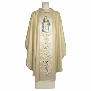 Chasubles: Chasuble sacerdotale 100% pure laine naturelle fleurs Vierge