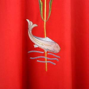 Chasuble with IHS symbol, ears of wheat and fish s4