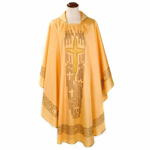 Chasuble with stylized cross, shantung s1